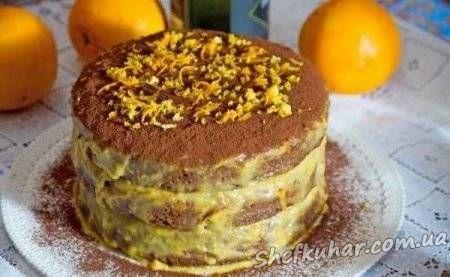 Шоколадный торт с кремом апельсиновым