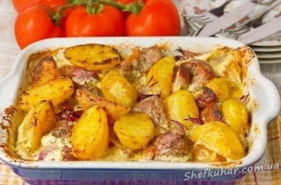 Запечь в духовке свинину с картошкой