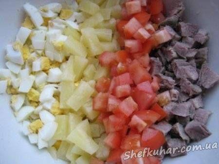 Салат з яловичиною та помідорами