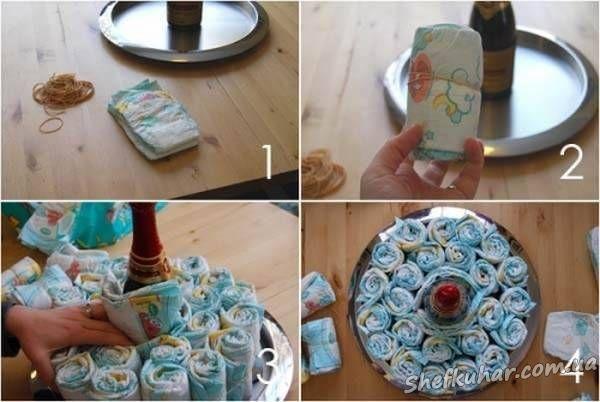 Как делать торты из памперсов своими руками видео