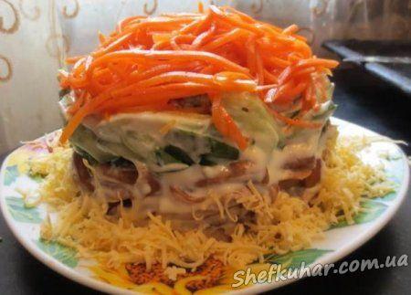 Салат з куркою, грибами і корейською морквою