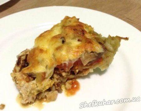 Картопляна запіканка з грибами і куркою