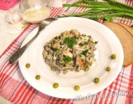 Теплий салат з яловичою печінкою
