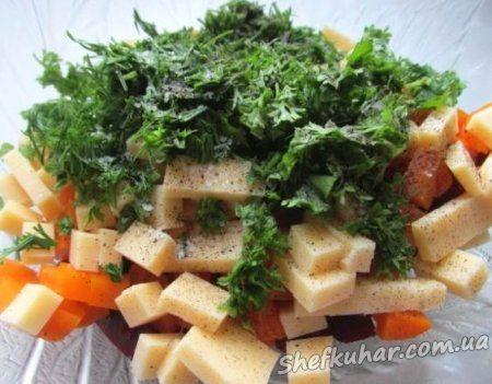Салат з буряка, морквою і сиром