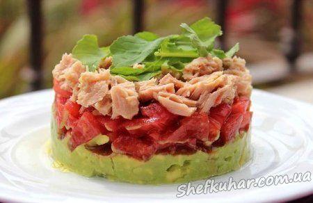 Салат з тунцем і авокадо