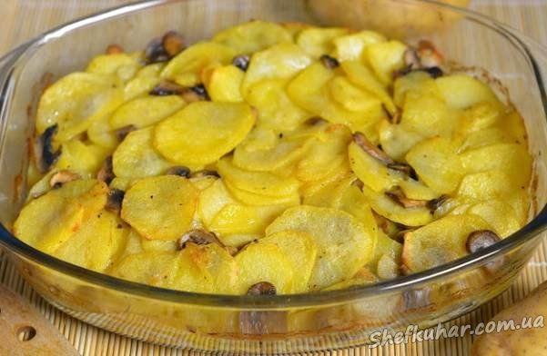 Рецепт с фото шампиньоны картошка в духовке