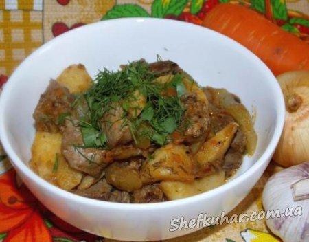 Рагу из кабачков, картофеля и куриной печени