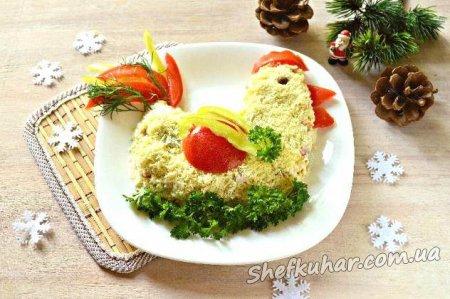 Салат на Новий рік у вигляді Півня