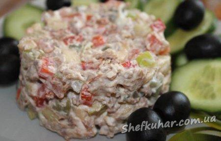 Салат з м'ясом і яблуком