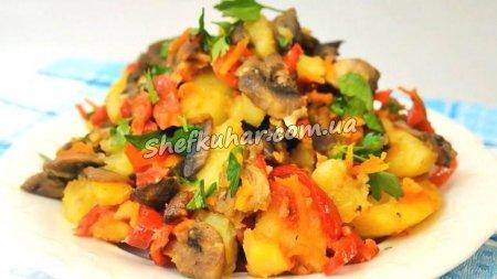 Овочеве рагу з грибами за 20 хвилин