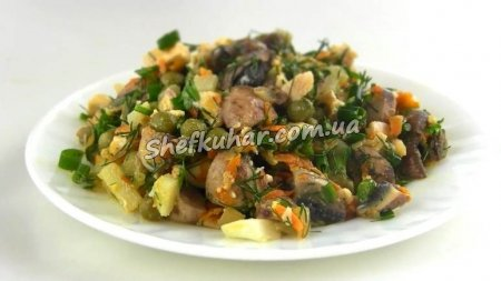 Осінній салат з куркою і грибами
