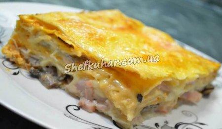 Пиріг з лаваша з сиром, грибами і шинкою