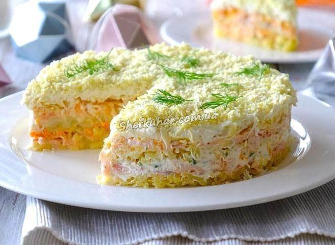 Салат мимоза с соленым огурцом