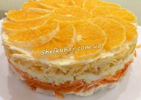 Святковий салат з апельсинами і куркою
