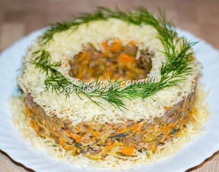 Святковий салат з печінки