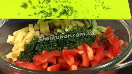 Салат з м'ясом і стручковою квасолею