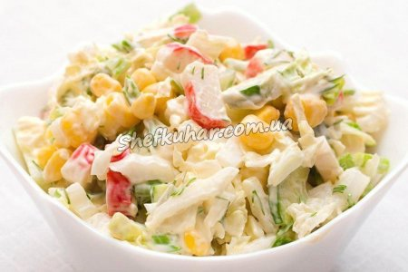 Крабовий салат з кукурудзою