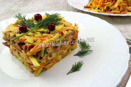 Салат з ковбасою і млинцями