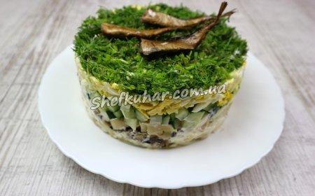 Салат зі шпротами і яйцями
