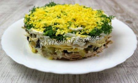 Святковий салат з курячим філе і чорносливом