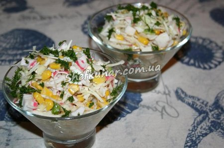 Готовий салат - Салат з капустою, кукурудзою і крабовими паличками (Фото 5)