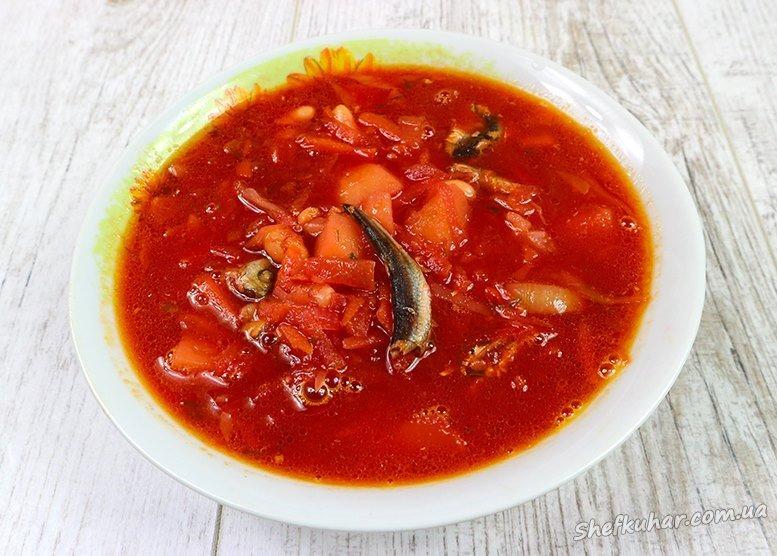 Пісний борщ з кількою в томаті і квасолею